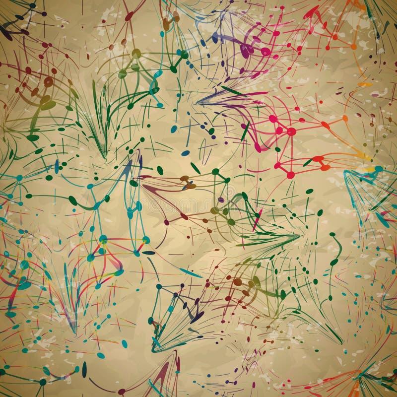 Sömlös modell för textil av linjer med färgrika virvlar och prickar stock illustrationer