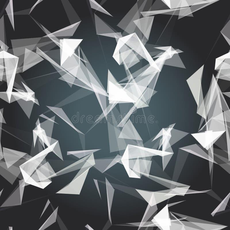 Sömlös modell för textil av vita trianglar på den mörka bakgrunden stock illustrationer