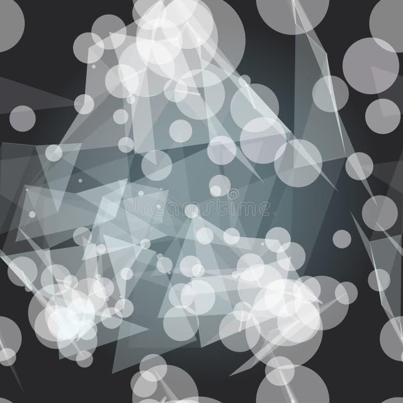 Sömlös modell för textil av vita trianglar på den mörka bakgrunden vektor illustrationer