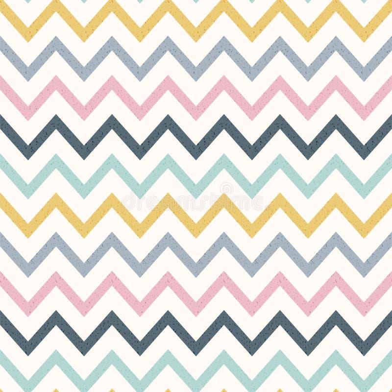 Sömlös modell för textursparresicksack i pastellfärgad färg abstrakt bakgrund Geometrisk bandtapet royaltyfri illustrationer