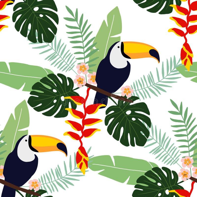 Sömlös modell för tropisk djungel med tukanfågeln, heliconia- och plumeriablommor och palmblad, lägenhetdesign, royaltyfri illustrationer