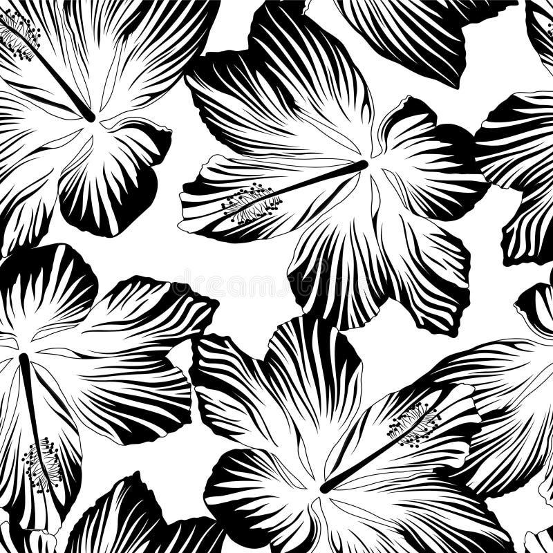Sömlös modell för tropiska blommor i svartvitt royaltyfri illustrationer