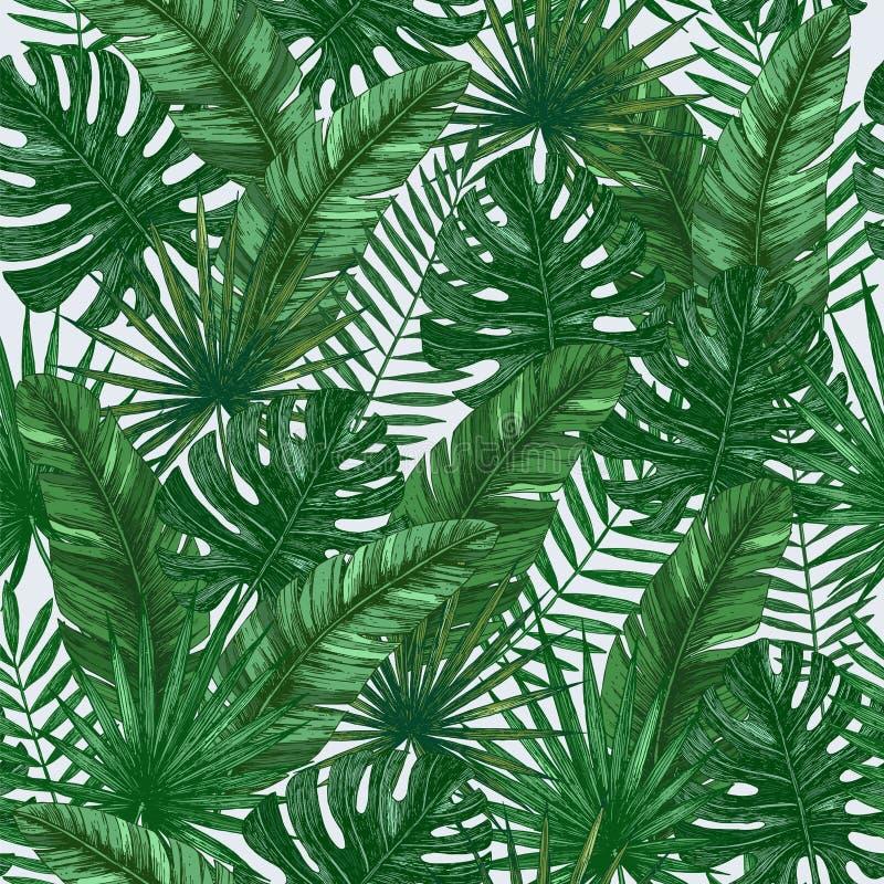 Sömlös modell för tropiska sidor Grön bakgrund för djungel arkivbild