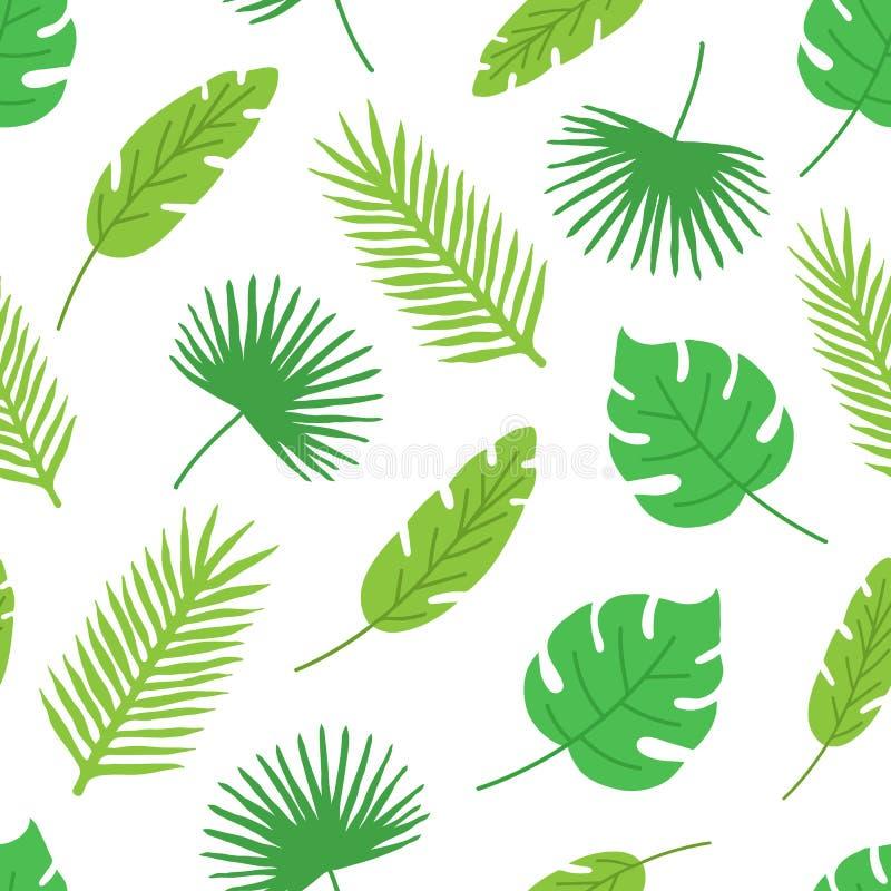 sömlös modell för tropiska sidor på vit bakgrund vektor för detaljerad teckning för bakgrund blom- Den drog handen gömma i handfl vektor illustrationer