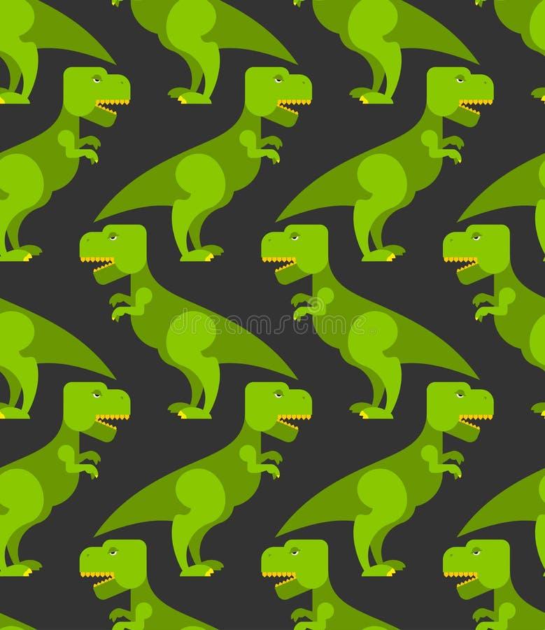 Sömlös modell för tyrannosariet-rex Bakgrund av stor gräsplan p royaltyfri illustrationer