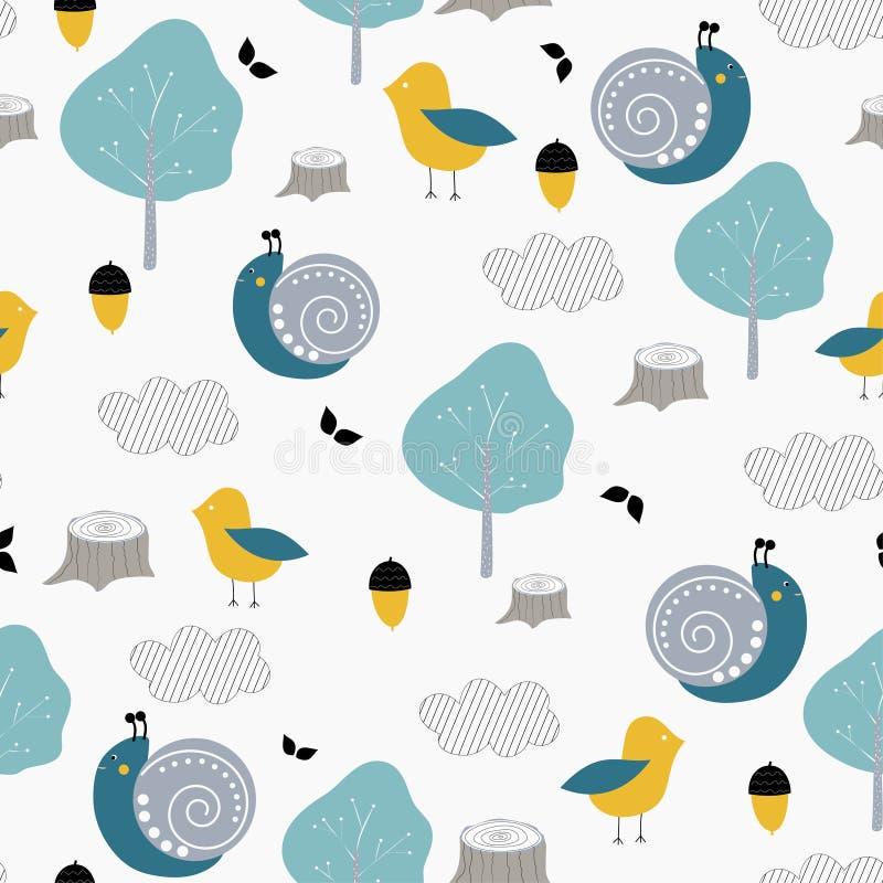 Sömlös modell för ungar med den gulliga snigeln, fågeln och naturen Vektordesign, utskrift och textiler royaltyfri illustrationer