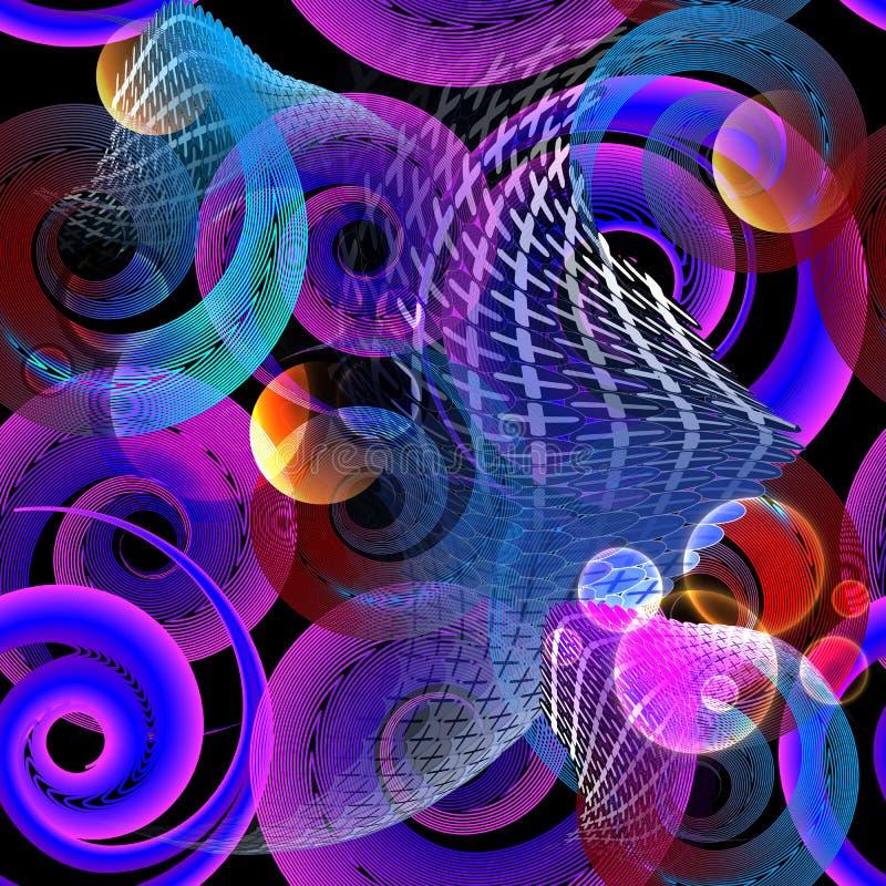 Sömlös modell för upplyst färgrik spiralvektor Geometrisk flödande dekorativ modern bakgrund för linjer och för former brigham stock illustrationer