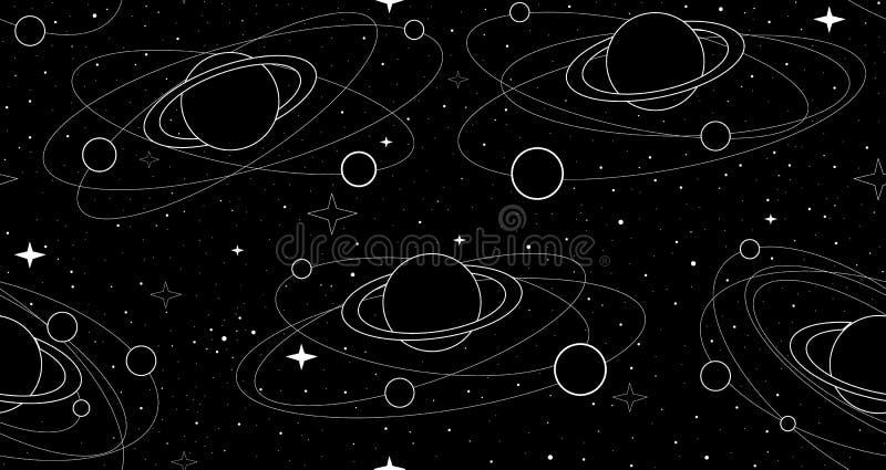 Sömlös modell för utrymmevektor med planeter och satelliter, stjärnor och konstellationer royaltyfri illustrationer