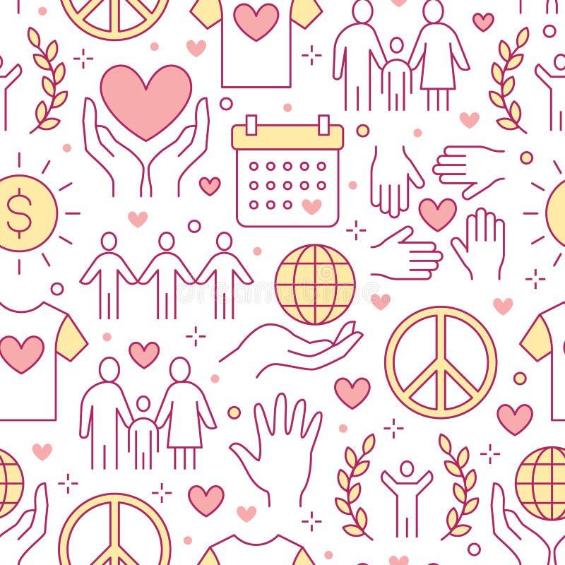 Sömlös modell för välgörenhetvektor med den plana linjen symboler Donation ideell organisation, NGO som ger hjälpillustrationer vektor illustrationer