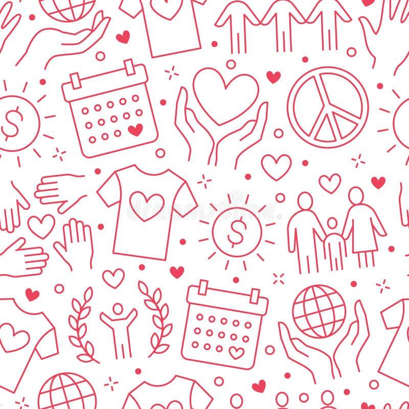 Sömlös modell för välgörenhetvektor med den plana linjen symboler Donation ideell organisation, NGO som ger hjälpillustrationer royaltyfri illustrationer