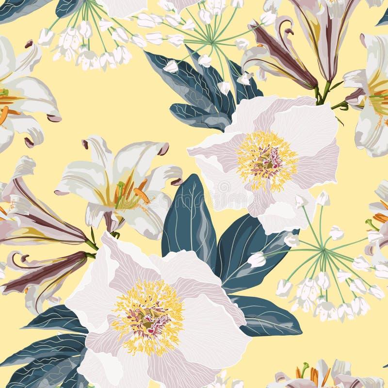 Sömlös modell för vårblomma med härliga liljor och pionblommor på gul bakgrundsmall royaltyfri illustrationer