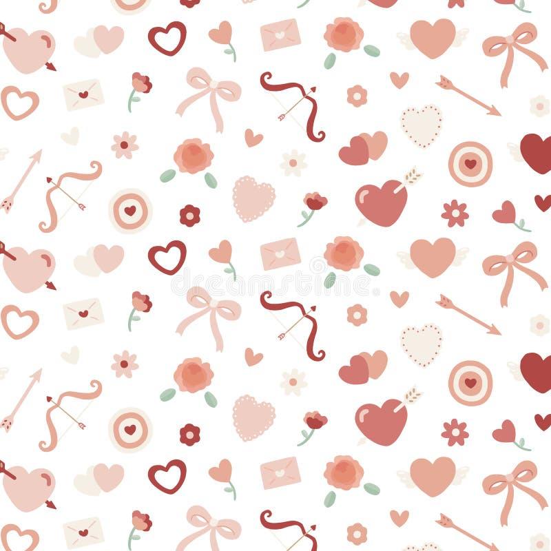 Sömlös modell för valentin med hjärta, blomma, pilbåge, kupidon` s royaltyfri illustrationer