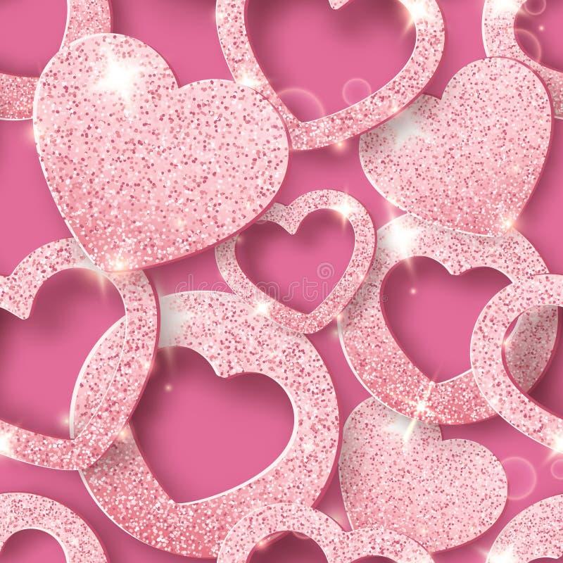 Sömlös modell för valentindag med skinande hjärtor Feriekortillustration på rosa bakgrund royaltyfri illustrationer