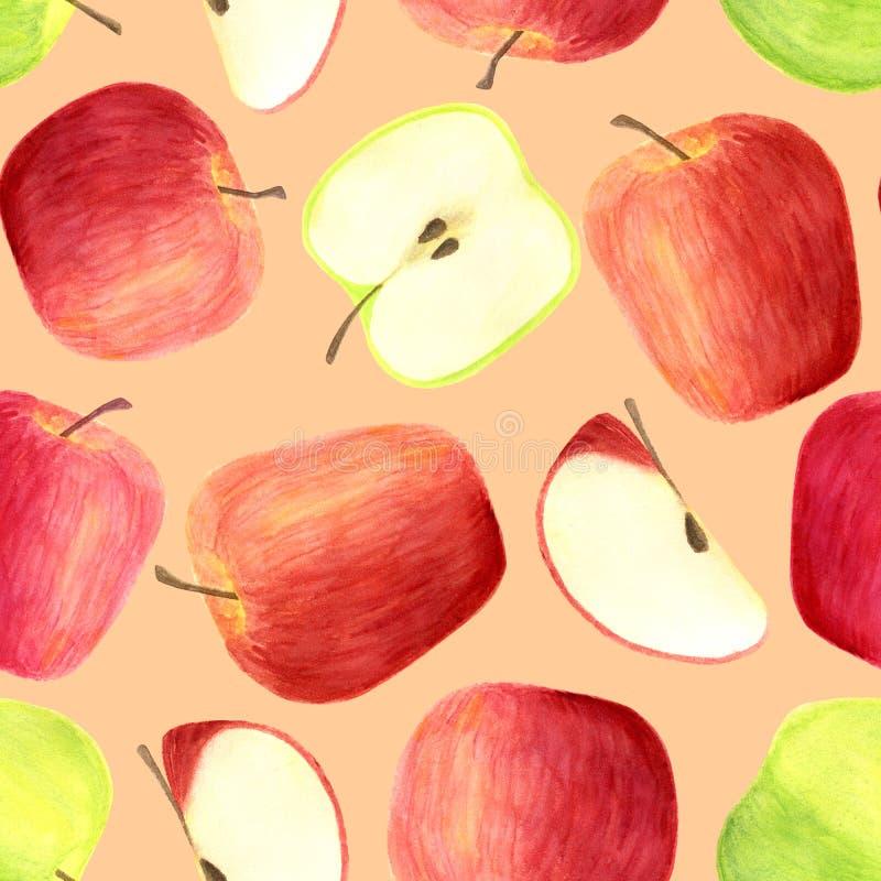 Sömlös modell för vattenfärgäpplen som isoleras på pastellfärgad orange bakgrund Röda för hand utdragna och gröna frukter, skivor vektor illustrationer
