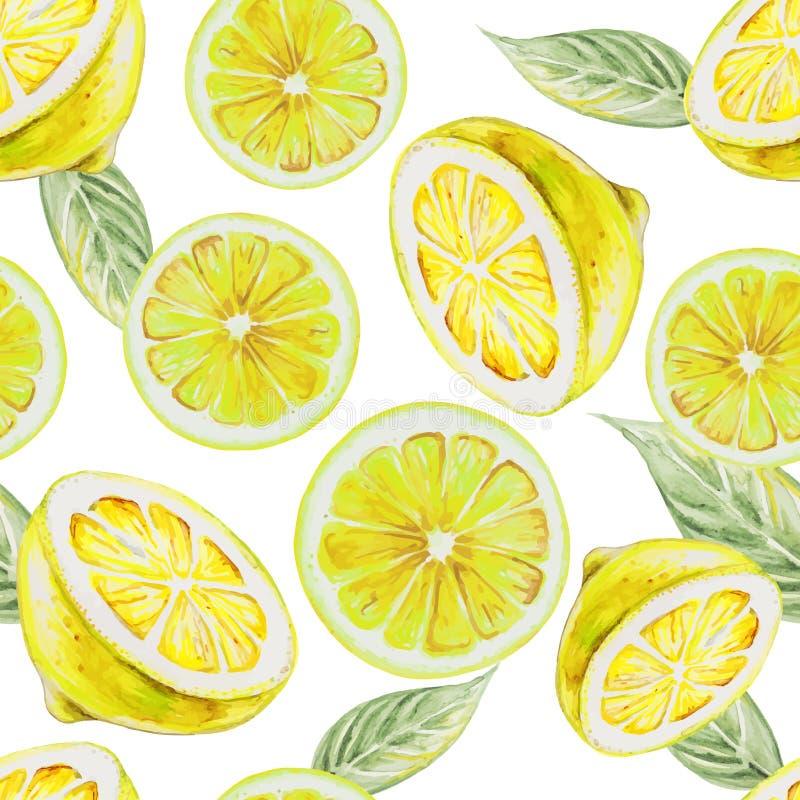 Sömlös modell för vattenfärg av citronfrukt vektor illustrationer