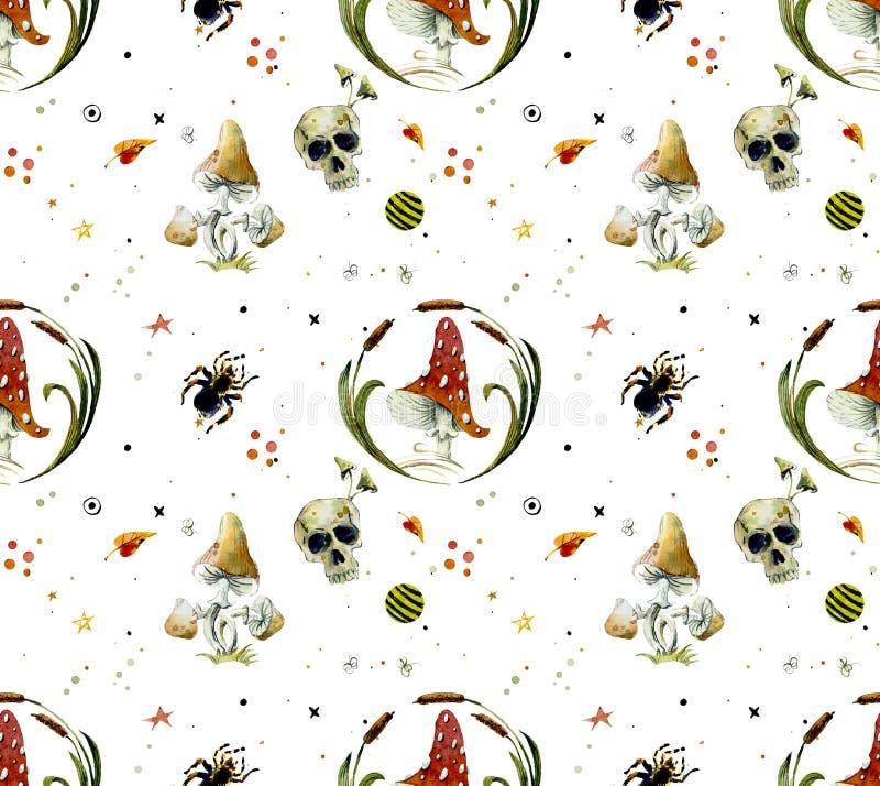 Sömlös modell för vattenfärg av halloween beståndsdelar Ljusa hand-drog beståndsdelar royaltyfri illustrationer