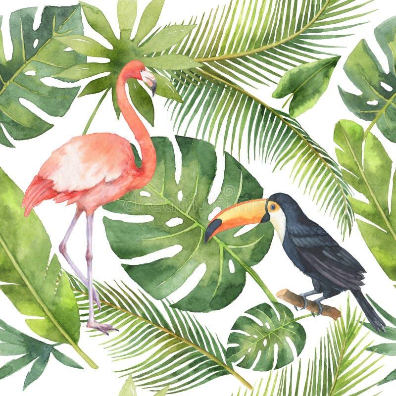 Sömlös modell för vattenfärg av kokosnöten och palmträd som isoleras på vit bakgrund stock illustrationer