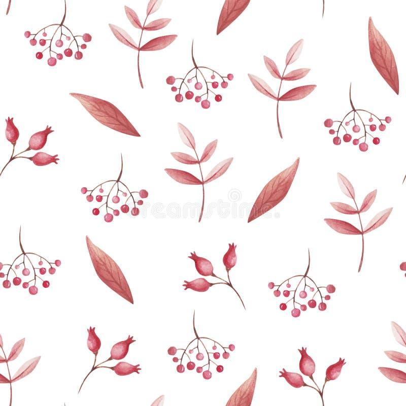 Sömlös modell för vattenfärg av röda blad och rönnen för tryck NedgångVibes royaltyfri illustrationer