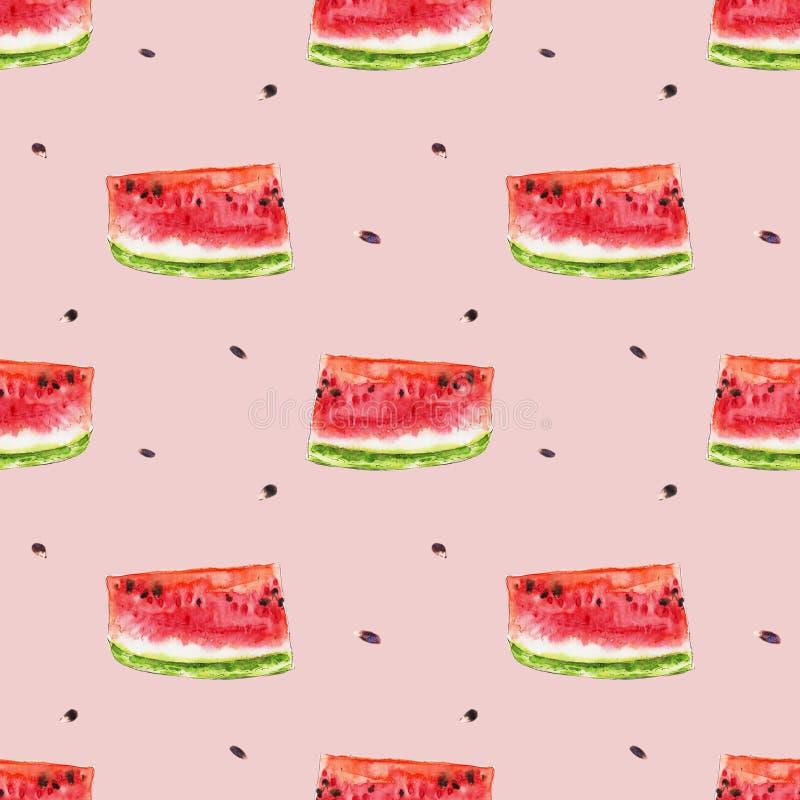 Sömlös modell för vattenfärg från röda saftiga vattenmelonslicies royaltyfri illustrationer