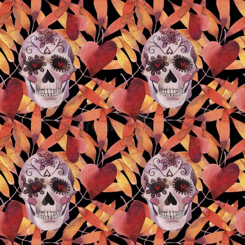 Sömlös modell för vattenfärg halloween Spöklik skalle med ljusögon och höstsidor royaltyfri illustrationer
