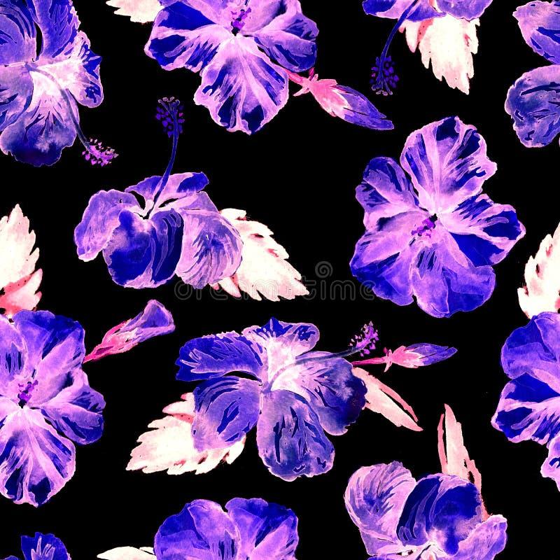 Sömlös modell för vattenfärg Hand målad illustration av tropiska sidor och blommor Vändkretssommarmotiv med hibiskusmodellen royaltyfri illustrationer