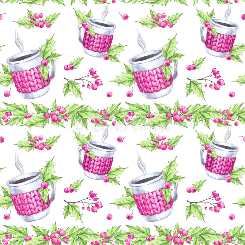 Sömlös modell för vattenfärg Handen målade koppen av den varma drinken med det stack fallet, rönnen och sidor Blom- gräns för jul royaltyfri illustrationer