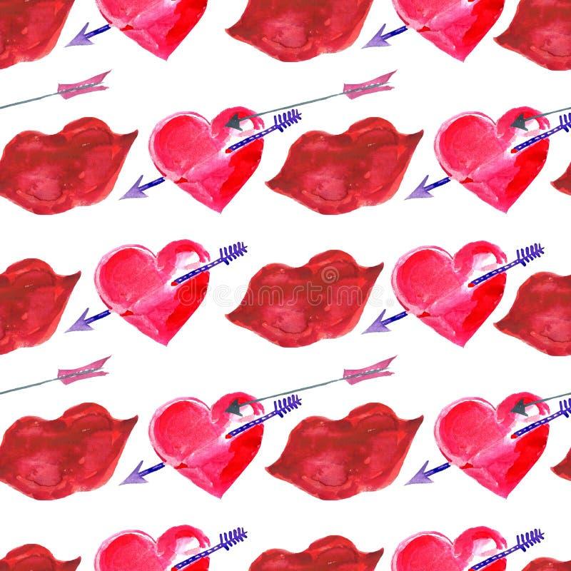 Sömlös modell för vattenfärg Handen målade valentins dag vektor illustrationer