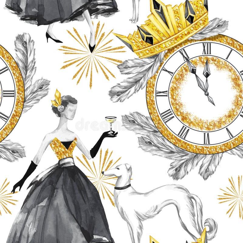 Sömlös modell för vattenfärg i retro guld- stil Härlig kvinna med champagne, vinthundhundkapplöpning, smyckenklocka, diadem stock illustrationer