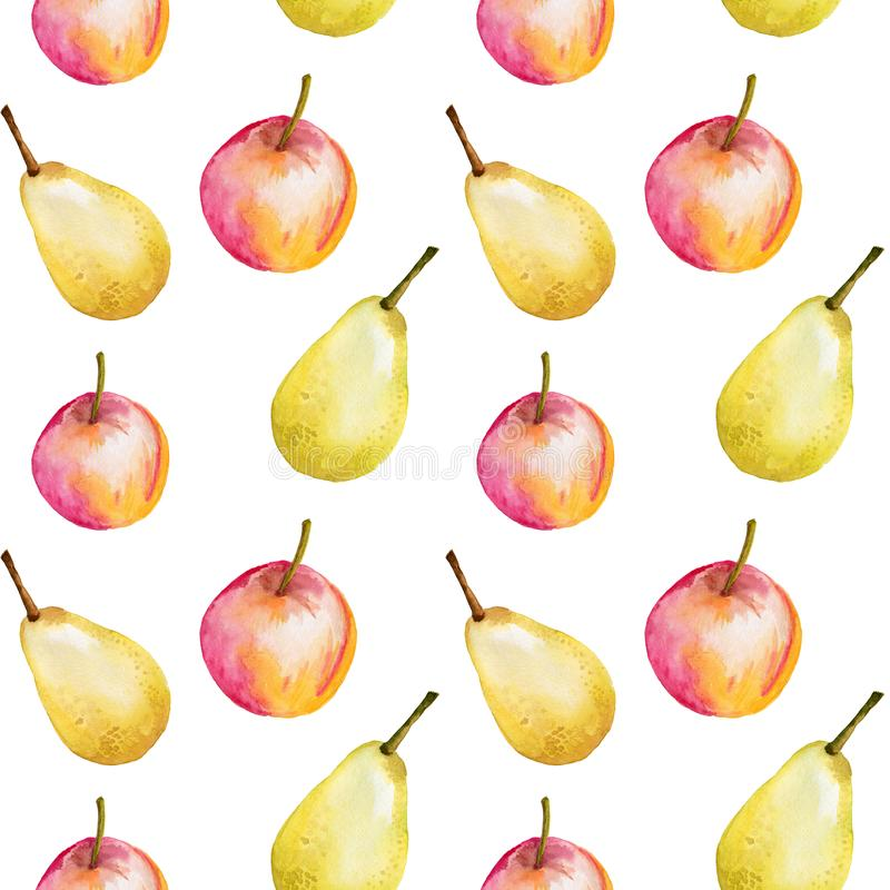 Sömlös modell för vattenfärg med äpplen och päron Hand dragen design, vit bakgrund, sommarfruktillustration för stock illustrationer
