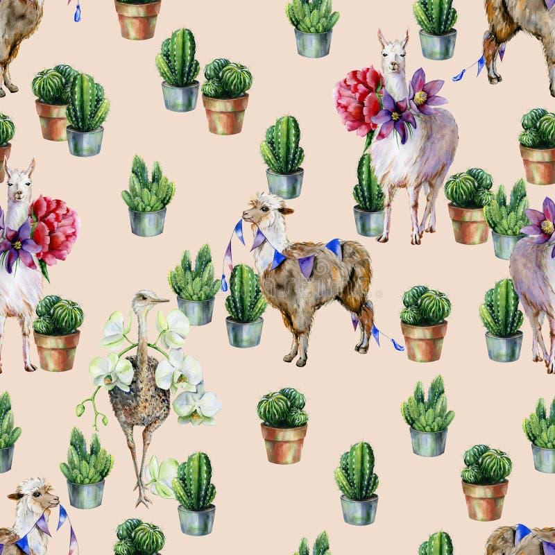 Sömlös modell för vattenfärg med alpaca, laman, strutsen och kaktuns stock illustrationer