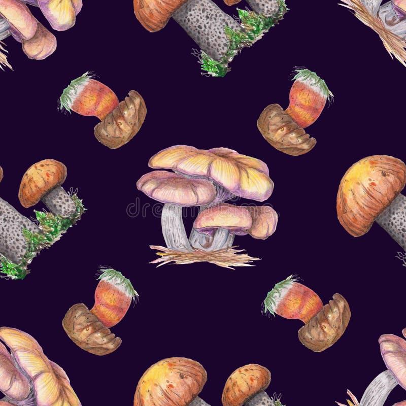 Sömlös modell för vattenfärg med champinjoner stock illustrationer