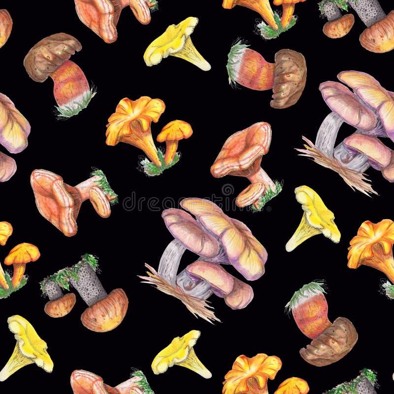 Sömlös modell för vattenfärg med champinjoner royaltyfri illustrationer