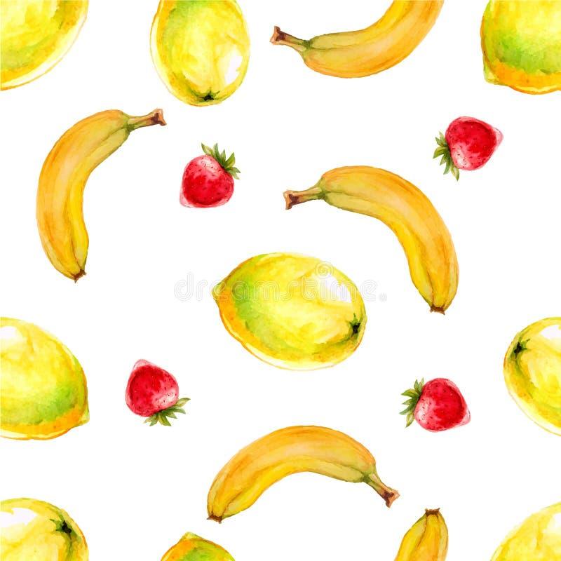 Sömlös modell för vattenfärg med citroner, bananer och jordgubbar royaltyfri illustrationer