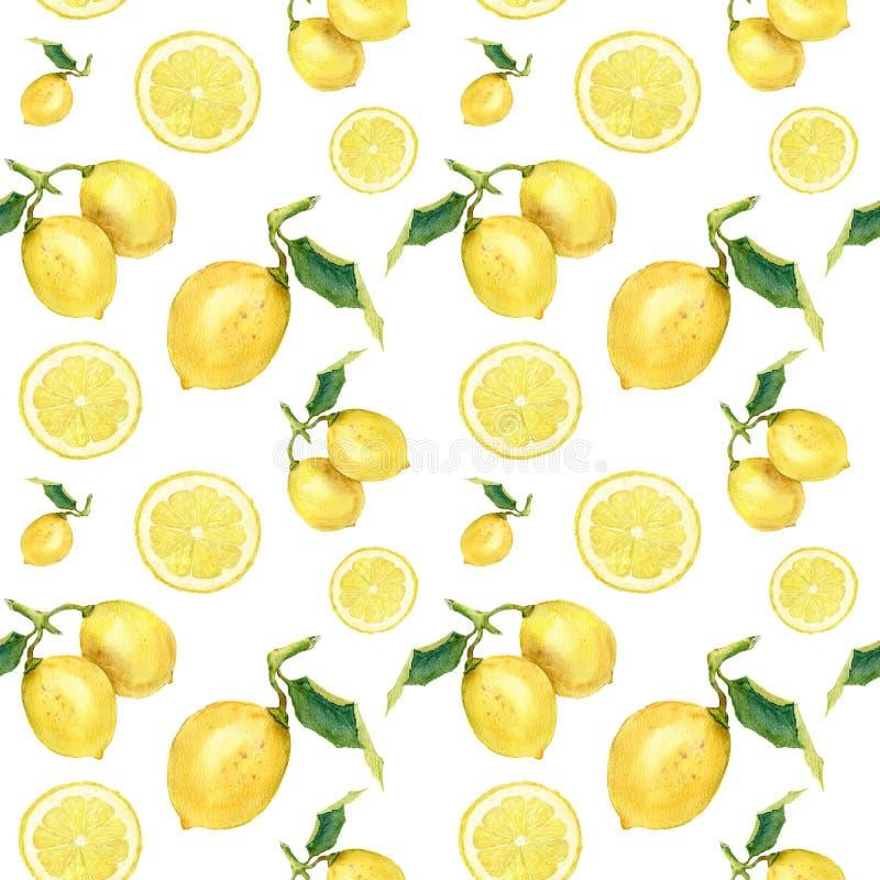 Sömlös modell för vattenfärg med citroner Räcka den målade citrusa prydnaden på vit bakgrund för design, tyg eller tryck stock illustrationer