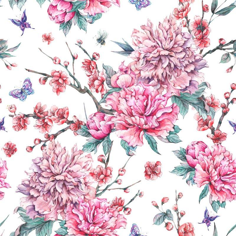 Sömlös modell för vattenfärg med den blommande körsbäret, pioner, royaltyfri illustrationer