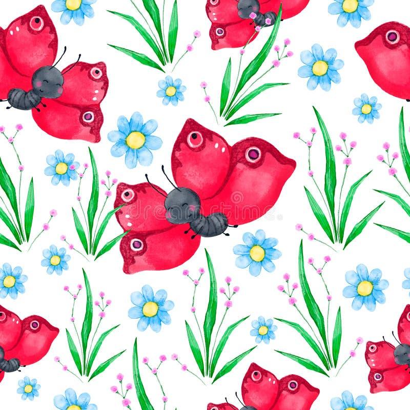 Sömlös modell för vattenfärg med den röda gulliga fjärilen, gröna sidor och blåa blommor stock illustrationer