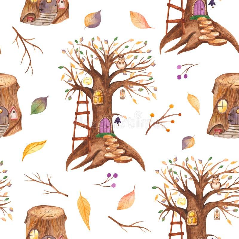 Sömlös modell för vattenfärg med den sagaträdet och stubben royaltyfri illustrationer