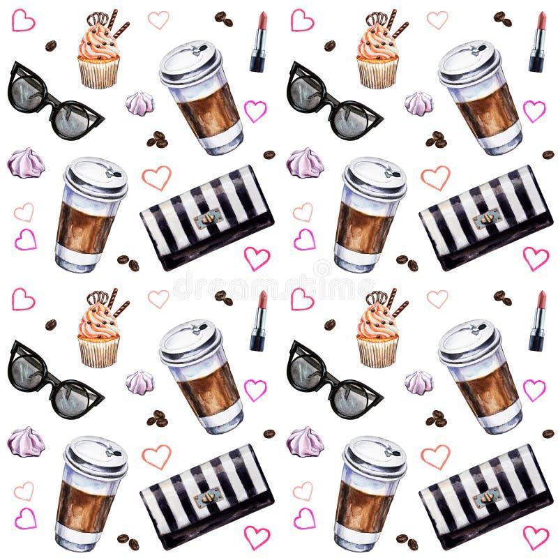 Sömlös modell för vattenfärg med disposableskoppar kaffe, kopp stock illustrationer