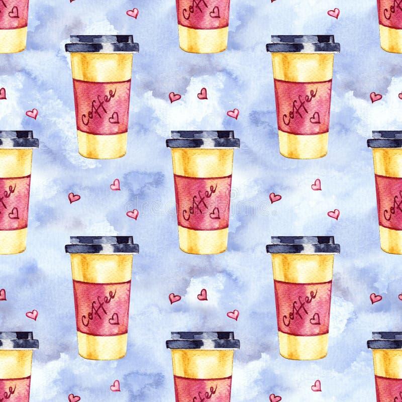 Sömlös modell för vattenfärg med disposableskoppar kaffe och hjärtor Hand m?lade illustrationen royaltyfri illustrationer