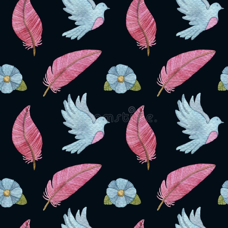 Sömlös modell för vattenfärg med duvor, fjädrar, blommor och fåglar stock illustrationer