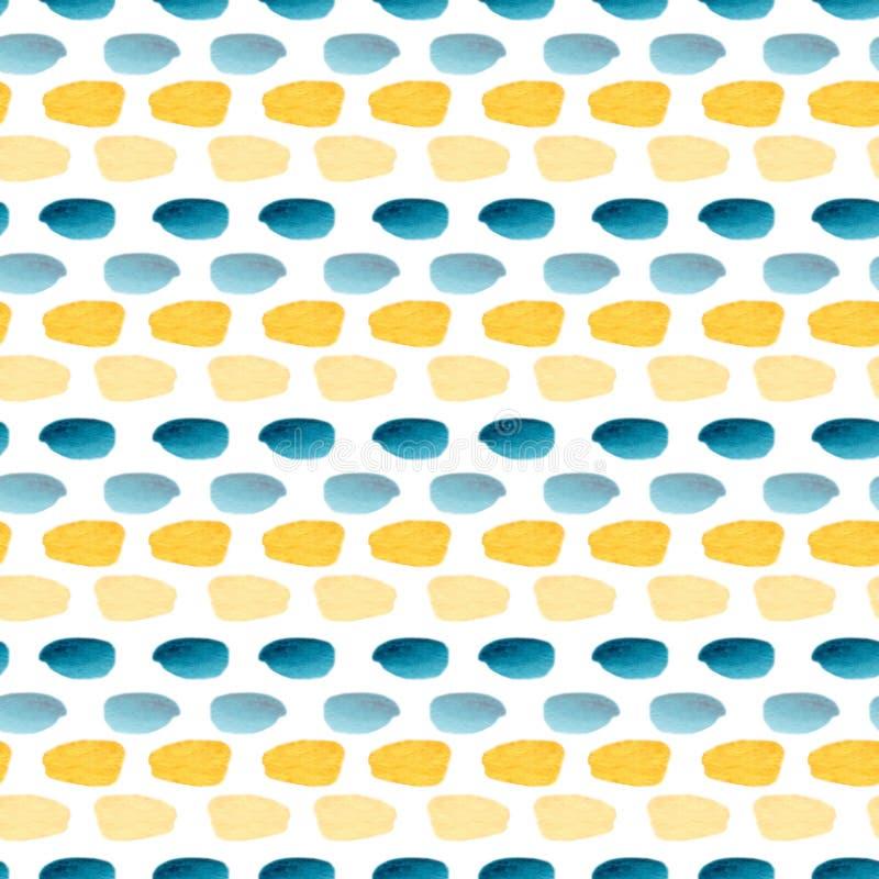 Sömlös modell för vattenfärg med enkel textur Modern textildesign i guling- och blåttfärger royaltyfri illustrationer