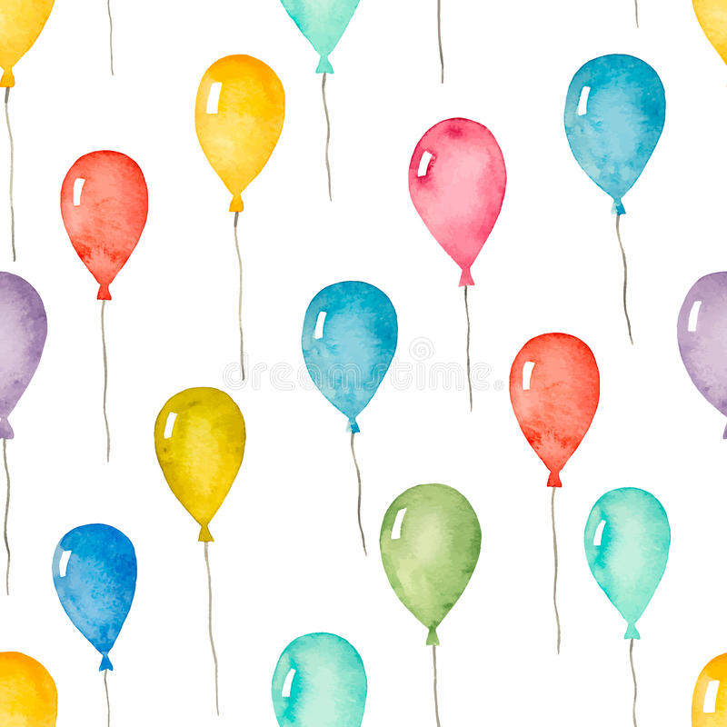 Sömlös modell för vattenfärg med färgrika ballonger royaltyfri illustrationer