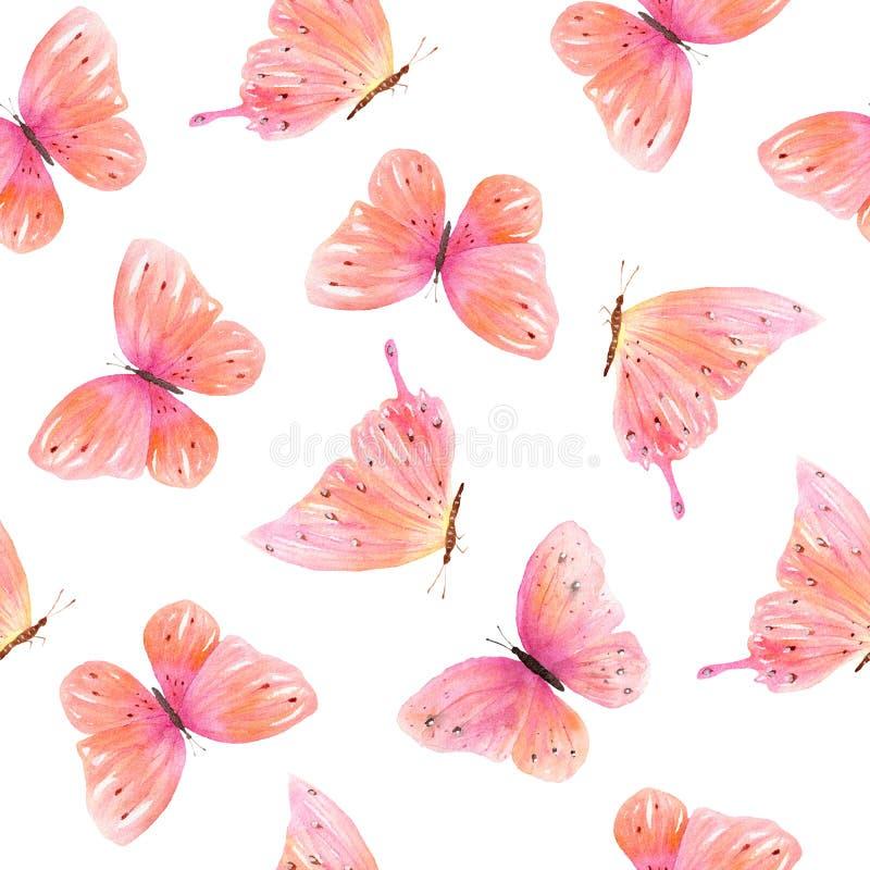 Sömlös modell för vattenfärg med färgrika fjärilar royaltyfria foton