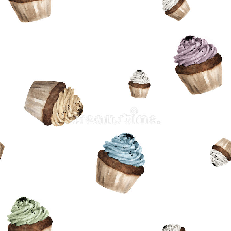 Sömlös modell för vattenfärg med färgrika muffin stock illustrationer