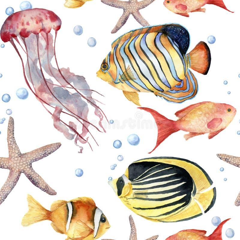 Sömlös modell för vattenfärg med fisken Handen målade den tropiska fisken, sjöstjärnan, manet och luftbubblor nautiskt stock illustrationer