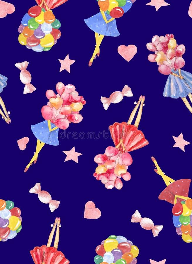 Sömlös modell för vattenfärg med flickainnehavbuketten av den färgrika ballongen med godisen, hjärtor på mörkt - blå bakgrund vektor illustrationer