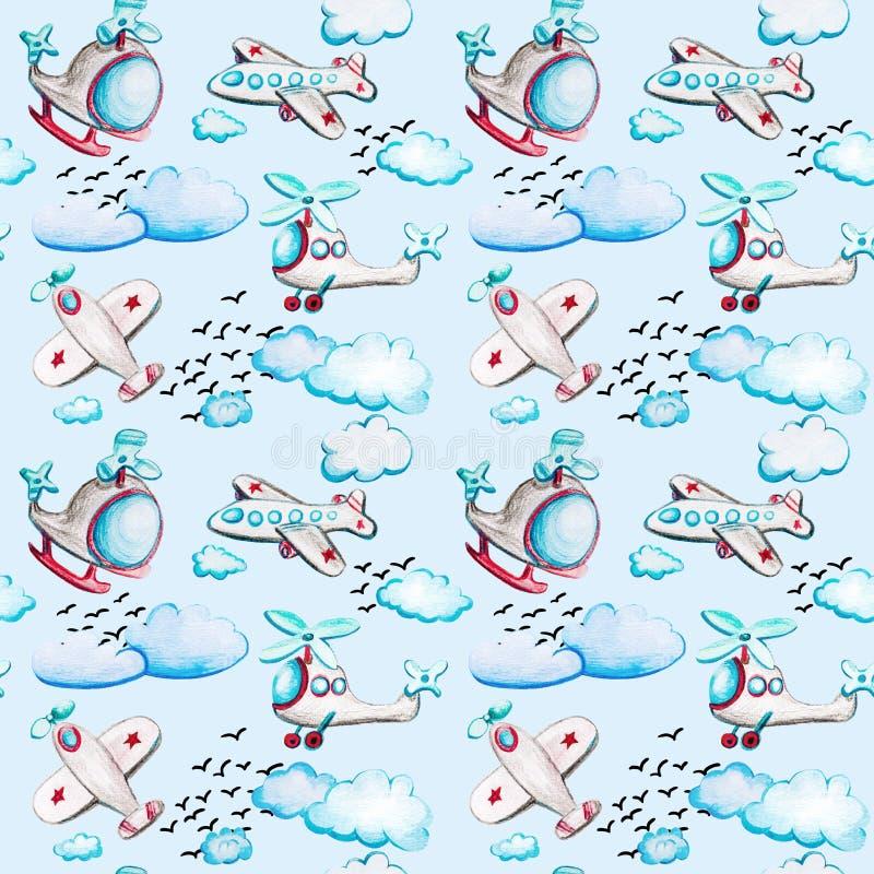 Sömlös modell för vattenfärg med flygplan och helikoptrar, moln och fåglar royaltyfri illustrationer