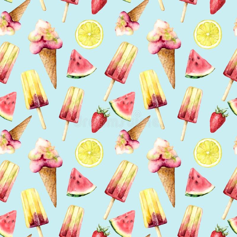 Sömlös modell för vattenfärg med frukt och glass Handen målade den illustrationvattenmelon, citronen och jordgubben vektor illustrationer