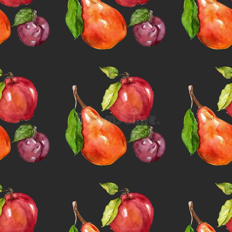 Sömlös modell för vattenfärg med fruktmörkerbakgrund royaltyfri illustrationer