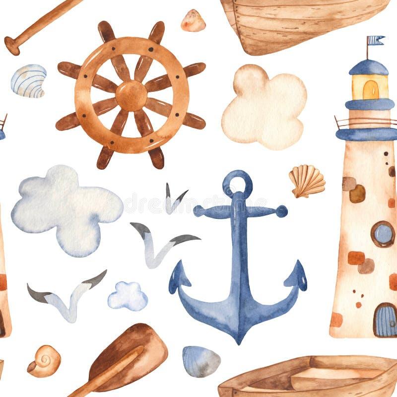 Sömlös modell för vattenfärg med fyren, skovel, fartyg royaltyfri illustrationer